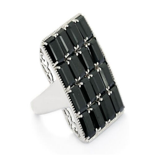 Boi Ploi Black Spinel (Oct) Ring in Rhodium Plated Sterling Silver 19.000 Ct.