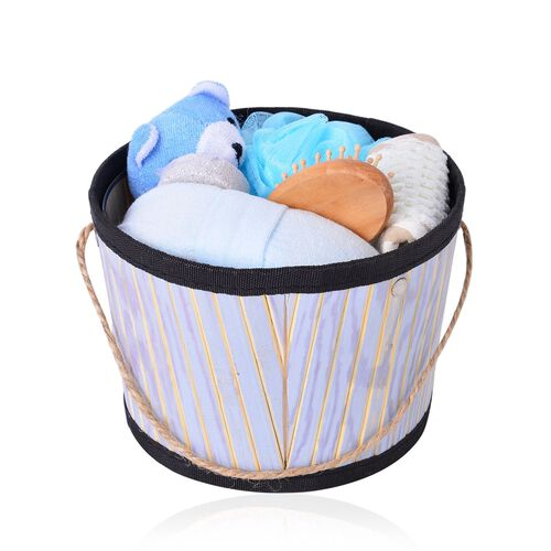 Bath Accessories - Blue and Multi Colour Scrubber Sponge, Back Scrubber, Bath Toy, Hair Brush, Mesh Sponge and Pumice Stone in Bamboo Bucket
