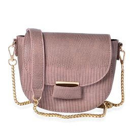 Half Moon Shape Blush Pink Colour Crossbody Bag (Size 19x15x7 Cm)