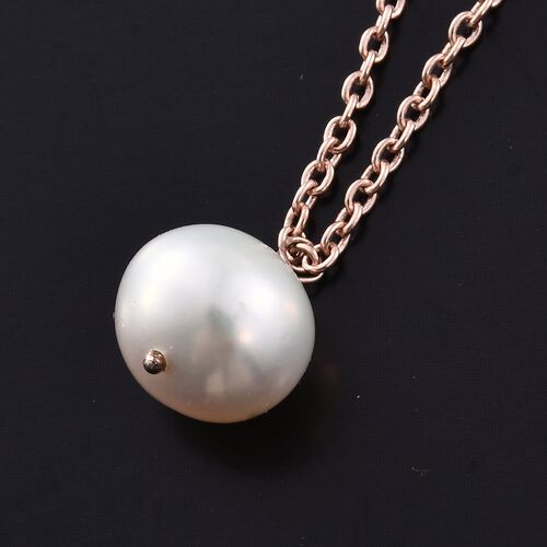 Fresh Water Pearl Necklace (Size 18) in Rose Gold Overlay Sterling Silver