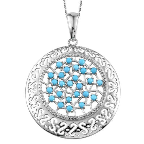 Arizona Sleeping Beauty Turquoise (Rnd) Pendant with Chain in Platinum Overlay Sterling Silver 2.000 Ct.