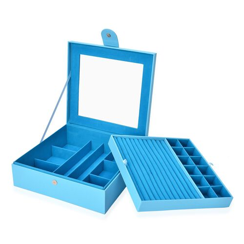Turquoise Colour 2 Layer Jewellery Box with Black Velvet and Mirror Inside (Size 29X28X9.5 Cm)