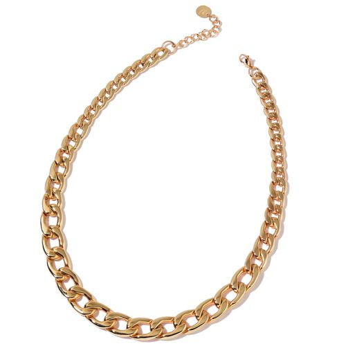 Limited Available Graduated Curb Necklace (Size 20 with 2 inch Extender) in Yellow Gold Tone