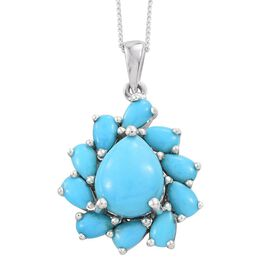Arizona Sleeping Beauty Turquoise (Pear 1.25 Ct) Pendant with Chain (Size 18) in Platinum Overlay Sterling Silver 3.150 Ct.