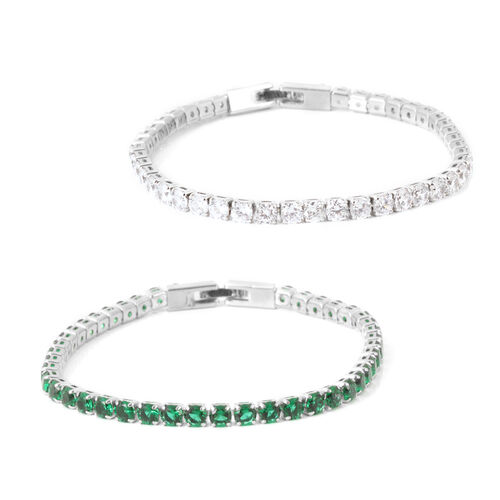 Set of 2 - AAA Simulated Emerald (Rnd), Simulated Diamond Tennis Bracelet (Size 7.5) in Silver Tone
