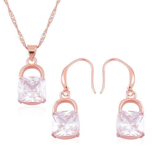 Designer Inspired-AAA Simulated Diamond Lock Design Pendant With Chain (Size 18 with 1.5 inch Extender) and Hook Earrings Rose Gold Plated