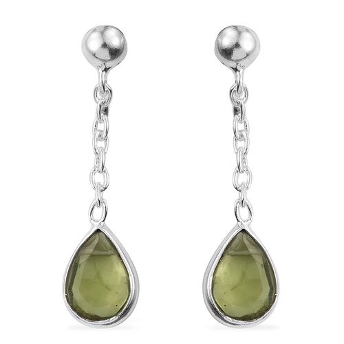 AA Hebei Peridot (Pear) Earrings (with Push Back) in Sterling Silver 2.390 Ct.