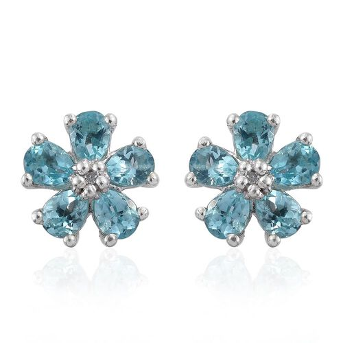 Paraiba Apatite (Pear), Diamond Floral Stud Earrings (with Push Back) in Platinum Overlay Sterling Silver 1.750 Ct.