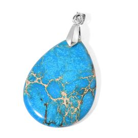 Blue Imperial Jasper Tear Drop Pendant in Rhodium Plated Sterling Silver 50.000 Ct.