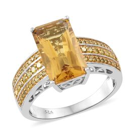 Collectors Edition-Heliodor (Oct 4.10 Ct), Yellow Diamond Ring in Platinum Overlay Sterling Silver 4.500 Ct.