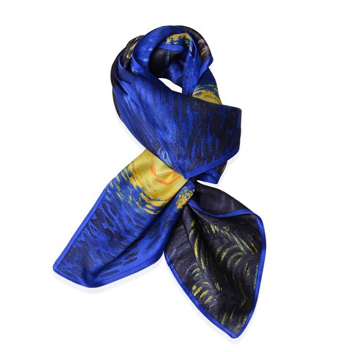 100% Mulberry Silk Blue, Yellow and Multi Colour Starry Night Printed Scarf (Size 86x86 Cm) (Weight 35 Gms)