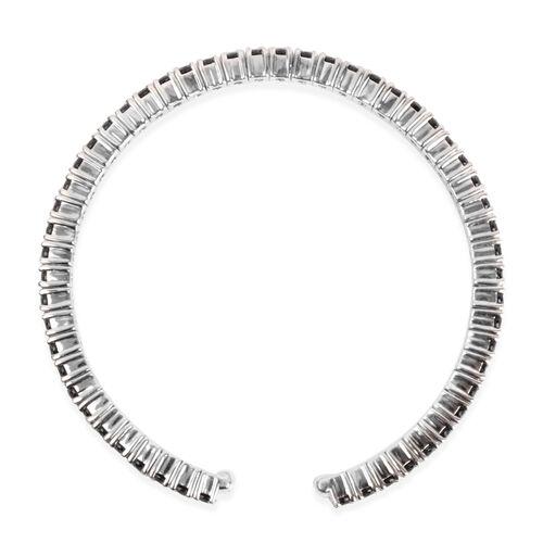 Boi Ploi Black Spinel (Rnd) Bangle (Size 6.5) in Platinum Overlay Sterling Silver 6.480 Ct. Silver wt 14.00 Gms.