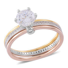 Very Limited Available- ELANZA AAA Simulated White Diamond (Rnd) Ring in Tricolour Sterling Silver, Silver wt 4.15 Gms.