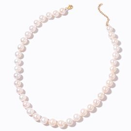 9K Yellow Gold AAAA Fresh Water High Lustre White Pearl (11-12 mm) Round Bead Necklace (Size 18 with 2 inch Extender)