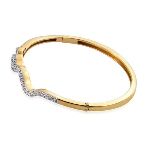 J Francis - 14K Gold Overlay Sterling Silver (Rnd) Serpentine Bangle (Size 7.5) Made with White and Red SWAROVSKI ZIRCONIA, Silver wt 17.07 Gms.