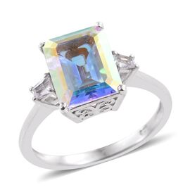 Mercury Mystic Topaz (Oct 4.50 Ct), White Topaz Ring in Platinum Overlay Sterling Silver 4.750 Ct.