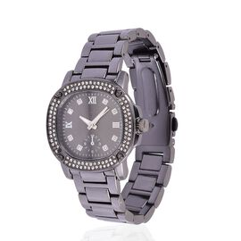 GENOA Japanese Movement Roman Numerals Watch with White Austrian Crystal in Black Tone and Stainless Steel Back