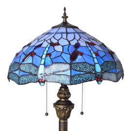 Luxury Edition - Tiffany Style Dragonfly Pattern Floor Lamp Blue color with Stained Glass , Turquoise and Multi Colour Glass 10500.000 Ct.