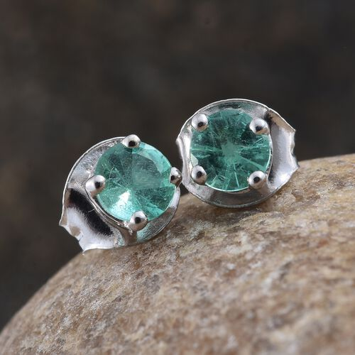 14K White Gold 0.50 Ct AA Boyaca Colombian Emerald Solitaire Stud Earrings (with Push Back)