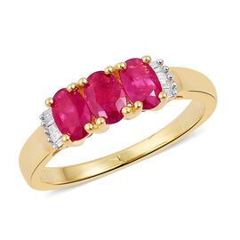 Super Auction- Rare AAA Burmese Ruby and Diamond Ring in 14K Gold Overlay Sterling Silver 2.050Ct.