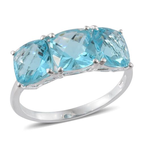AAA Simulated Aquamarine (Cush) Trilogy Ring in Sterling Silver