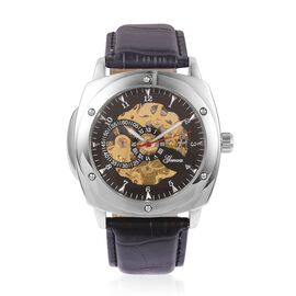 GENOA Automatic Skeleton Black Dial Water Resistant Watch in Silver Tone with Black Leather Strap