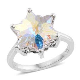 STELLARIS CUT J Francis Crystal from Swarovski - AB Colour Crystal Ring in Platinum Overlay Sterling Silver