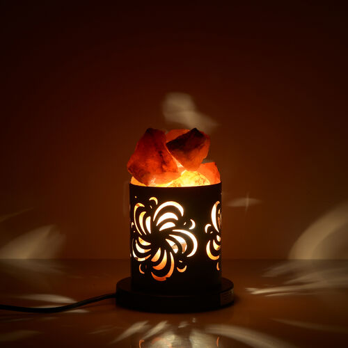 Home Decor - Black Colour Lamp with Rock Salt Lamp
