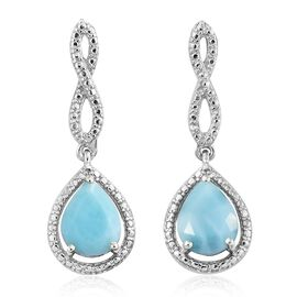 Larimar (Pear) Drop Earrings in Platinum Overlay Sterling Silver 3.250 Ct.