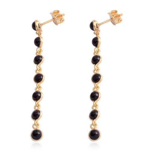 Black Onyx (Rnd) Dangle Earrings (with Push Back) in Yellow Gold Overlay Sterling Silve. Silver wt. 2.50 Gms.