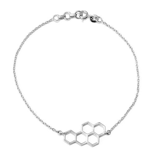 Honeycomb Bracelet in Platinum Plated Silver 7.5 Inch with Half Inch Extender
