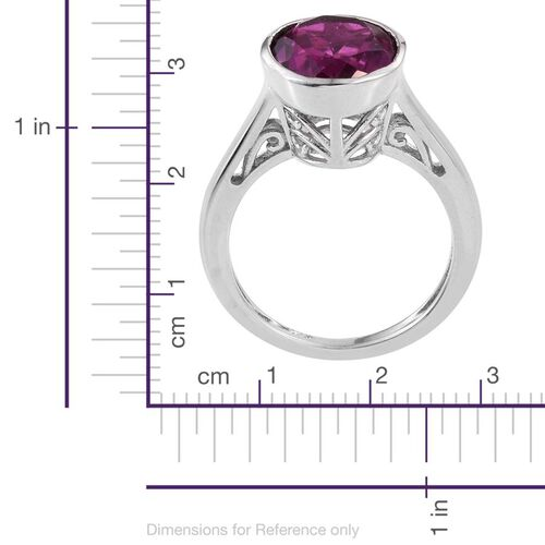Radiant Orchid Triplet Quartz (Ovl) Solitaire Ring in Platinum Overlay Sterling Silver 3.500 Ct.