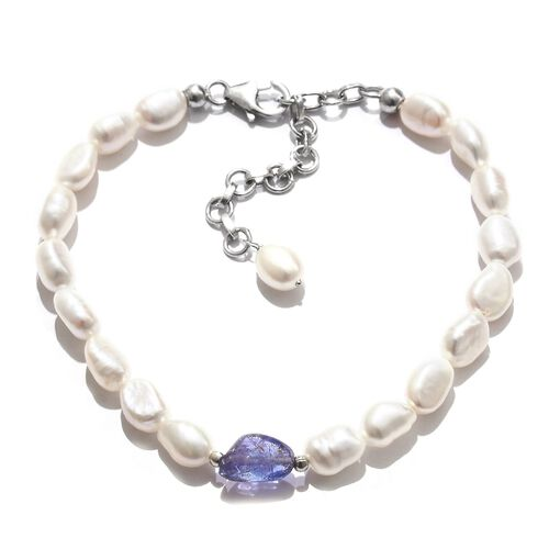 Tanzanite and Fresh Water Pearl Bracelet (Size 7.5 with 2 inch Extender) in Platinum Overlay Sterling Silver 30.000 Ct.