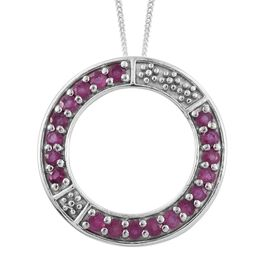 African Ruby 1.5 Carat Silver Circle of Life Pendant With Chain in Platinum Overlay