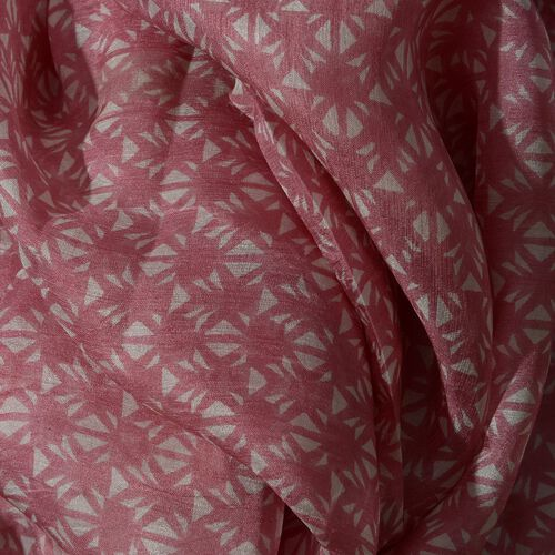 100% Mulberry Silk Pink and White Colour Printed Scarf (Size 180x100 Cm)