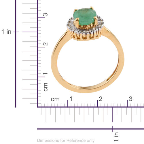 Kagem Zambian Emerald (Ovl 1.00 Ct), Diamond Ring in 14K Gold Overlay Sterling Silver 1.200 Ct.