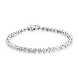 Diamond Tennis Bracelet (Size 7.5) in Platinum Overlay Sterling Silver 0.33 Ct. Silver wt 10.13 Gms.