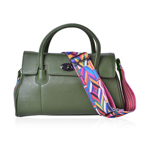 Top Grain 100% Genuine Leather Green Colour Tote Bag with Colourful Removable Shoulder Strap (Size 32X21X13 Cm)