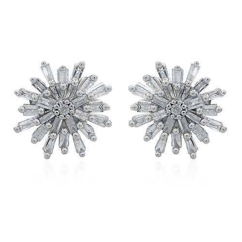 Christmas Special-9K W Gold SGL Certified Diamond (Rnd) (I3/G-H) Starburst Stud Earrings (with Push Back) 0.500 Ct.