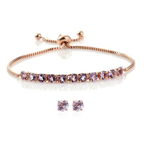 Rose De France Amethyst (Rnd) Adjustable Bracelet (Size 6.5 to 8.5) and Stud Earrings (with Push Back) in Rose Gold Overlay Stainless Steel 3.750 Ct.