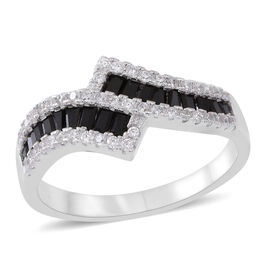 ELANZA AAA Simulated Black Spinel (Bgt), Simulated White Diamond Crossover Ring in Rhodium Plated Sterling Silver