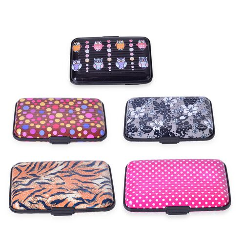 Set of 5 - RFID Blocker Pink, Black and Multi Colour Tiger, Owl, Polka Dot and Floral Pattern Card Holder (Size 11X7X2 Cm)