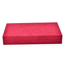Red Colour Velvet Multi Slots Jewellery Box with Pouch Pocket Inside (Size 32x19.5x6 Cm)