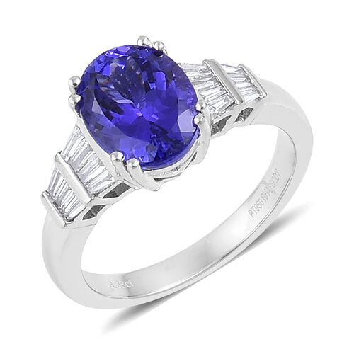 RHAPSODY 950 Platinum 3.50 Ct AAAA Tanzanite, Diamond VS E-F Ring