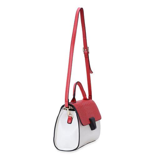 Red Colour Croc Embossed Hand Bag with External Zipper Pocket and Adjustable Shoulder Strap (Size 26x19x8 Cm)