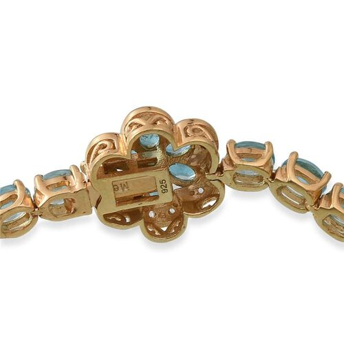 Paraibe Apatite (Ovl), Malgache Neon Apatite and White Topaz Floral Bracelet (Size 7.5) in 14K Gold Overlay Sterling Silver 13.250 Ct.