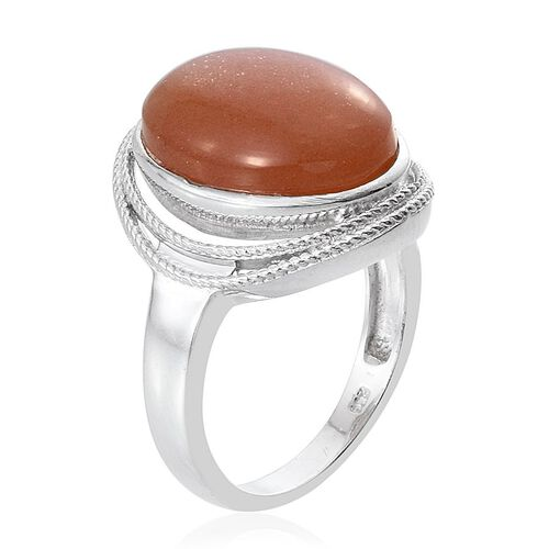 Morogoro Peach Sunstone (Ovl) Ring in Platinum Overlay Sterling Silver 13.000 Ct.