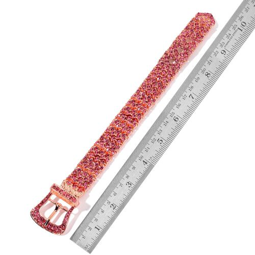 AAA Fuchsia Austrian Crystal Adjustable Buckle Bracelet and Earring in Rose Gold tone