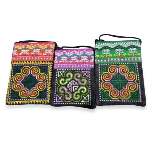 (Option 1) Set of 3 - Hmong Pattern Green, Pink and Red Colour Pouches With Strap