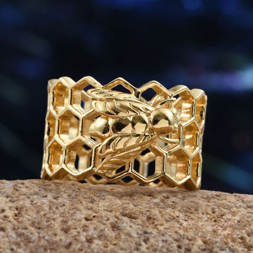14K Gold Overlay Sterling Silver Honey Comb with Bee Band Ring, Silver wt 5.94 Gms.